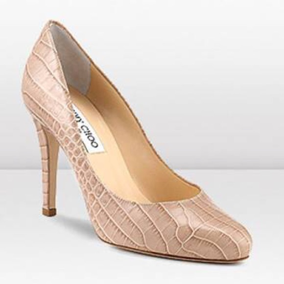 9b06e07a2ee Jimmy Choo Shoes - Jimmy Choo Vikki Nude Glossy Mock Croc Sz 35